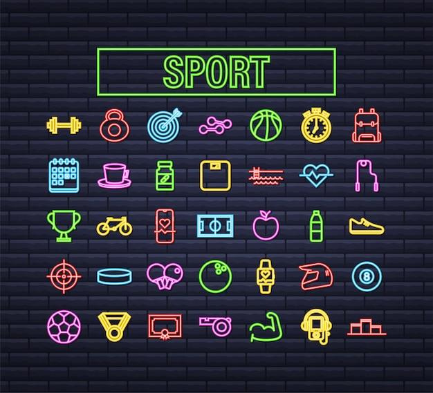 Icona al neon sportiva piatta per il web design. palla da calcio. insieme dell'icona di web. sport di forma fisica. illustrazione di riserva di vettore.