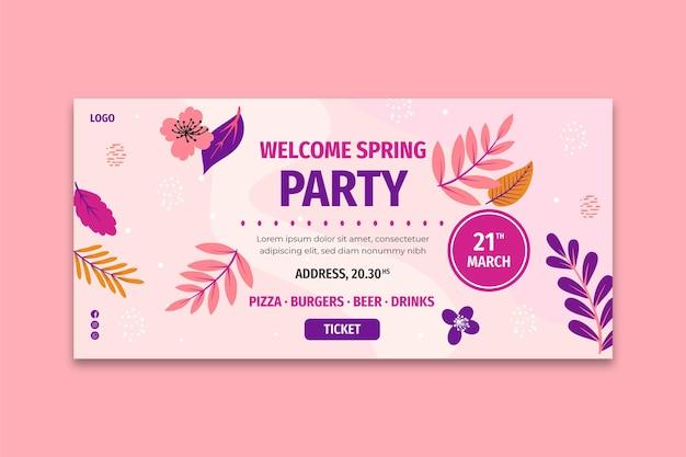 Modello di banner piatto primavera Vettore Premium