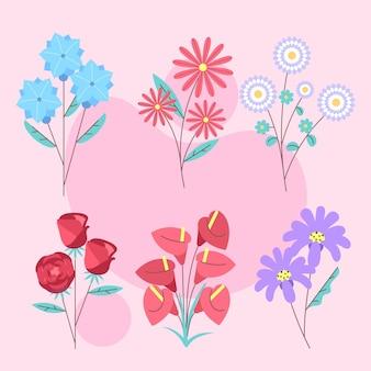 Collezione di fiori primaverili piatti