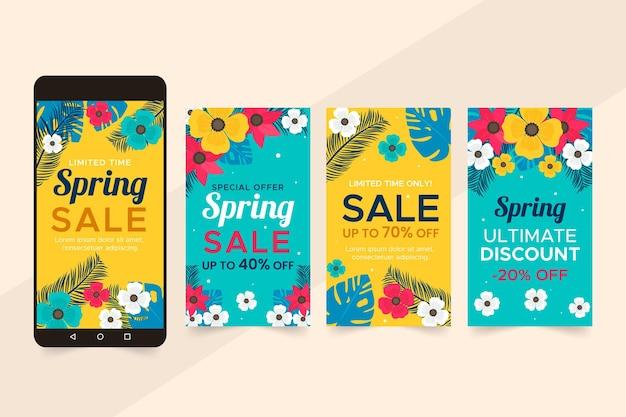 Collezione di storie instagram vendita primavera piatta