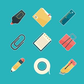 Set di icone di cancelleria piatta