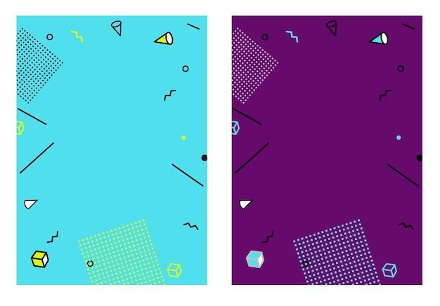 Modello geometrico astratto di stile piano per banner, annuncio, cartello e tabellone per le affissioni.