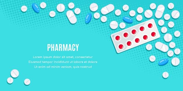 Design di banner in stile piatto con farmaci. compresse, capsule, una preparazione di antidolorifici, antibiotici, vitamine.