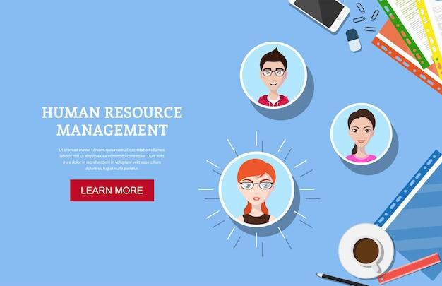 Banner in stile piatto, risorse umane e concetto di reclutamento, file cv con forniture per ufficio e avatar umani