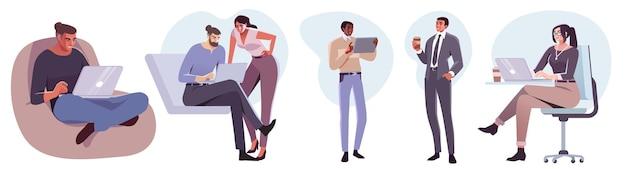 Personaggi di uomini d'affari in stile piatto sul posto di lavoro persone maschili e femminili nella stanza dell'ufficio