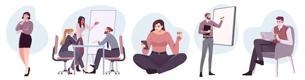 Personaggi di uomini d'affari in stile piatto sul posto di lavoro persone maschili e femminili in ufficio