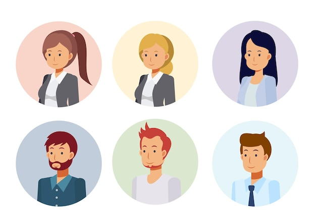 Avatar di persone personaggio dei cartoni animati stile piatto.