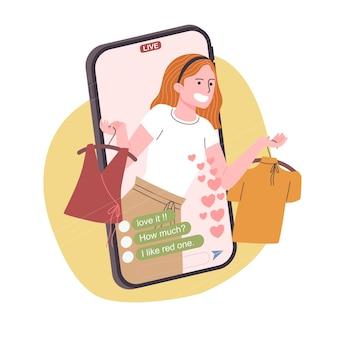 Carattere della donna del fumetto di stile piano che vende vestiti in linea.
