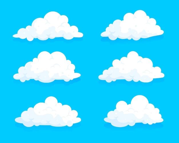 Insieme di progettazione dell'illustrazione delle nuvole di stile piano