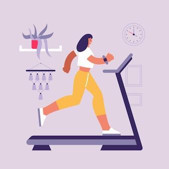 Illustrazione variopinta di stile piano del personaggio dei cartoni animati della donna sportiva che corre veloce