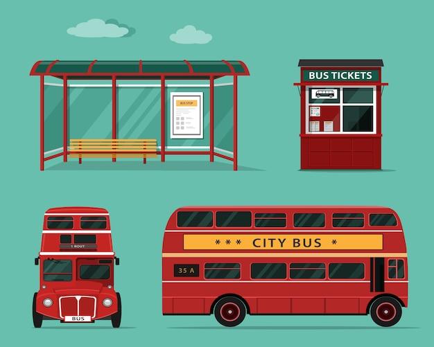Concetto di stile piano di trasporto pubblico. set di autobus urbani con vista frontale e laterale,