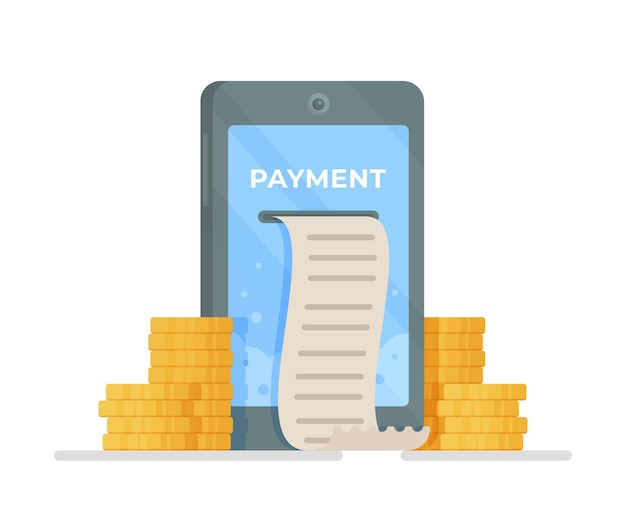 Design in stile piatto, smartphone con app per lo shopping online e carta di credito. illustrazione vettoriale di pagamento telefonico. pagamento per servizi, prodotti, spedizione e quant'altro. dai un'occhiata. Vettore Premium
