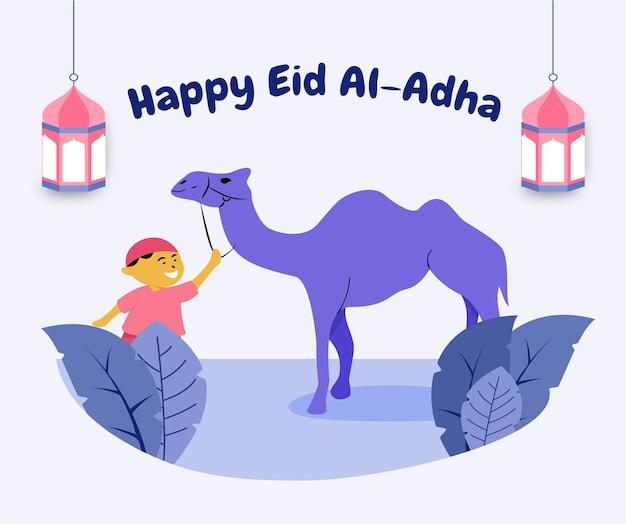 Illustrazione di eid al-adha mubarak in stile piatto con ragazzo musulmano e cammello