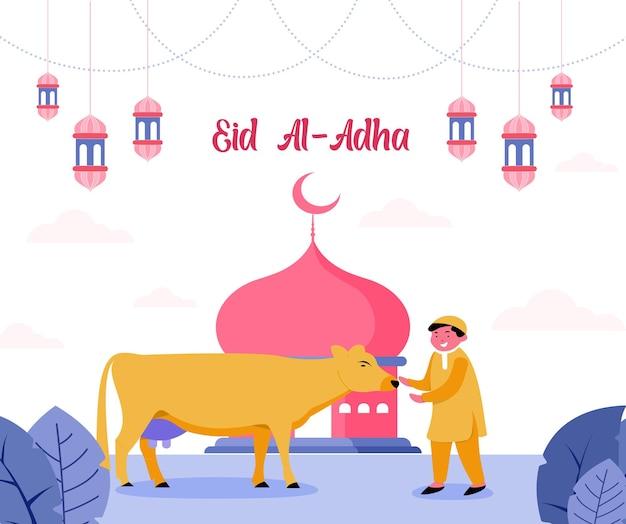 Illustrazione di eid al-adha mubarak in stile piatto con ragazzo e mucca musulmani