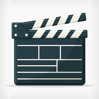 Design piatto del regista di film in stile ciak