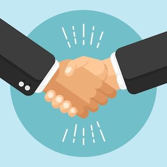 Progettazione di accordi commerciali con stretta di mano in stile piatto