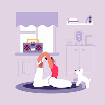 Illustrazione di stile piano della donna flessibile adatta del fumetto che fa esercizio di stretching
