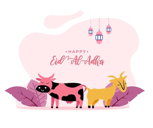 Illustrazione in stile piatto di capra e mucca per il concetto di saluto di eid al adha vacanza islamica