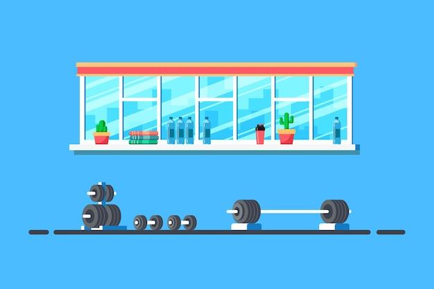 Illustrazione di stile piano dell'interno della palestra. bilanciere pesante per stacchi e attrezzature da palestra aggiuntive.