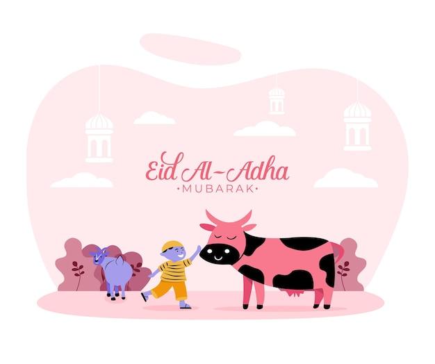 Illustrazione in stile piatto del ragazzo musulmano con sacrificio animale mucca e capra per eid al adha saluto concetto vacanza islamica