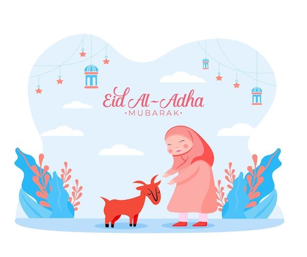 Illustrazione in stile piatto della ragazza musulmana con sacrificio di capra animale per eid al adha saluto concetto vacanza islamica