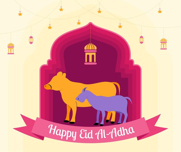 Illustrazione in stile piatto del sacrificio animale mucca e capra per eid al adha saluto concetto vacanza islamica