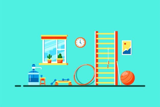 Illustrazione di stile piano dell'interno della sala sportiva. attrezzature sportive per il fitness.