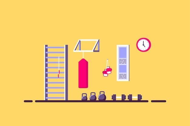 Illustrazione di stile piano dell'interno della sala sportiva. kettlebells, manubri, sacco da boxe e altre attrezzature sportive.