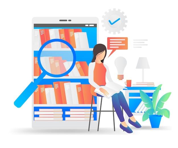 Illustrazione in stile piatto di una donna in una biblioteca online che legge un libro e cerca idee lì