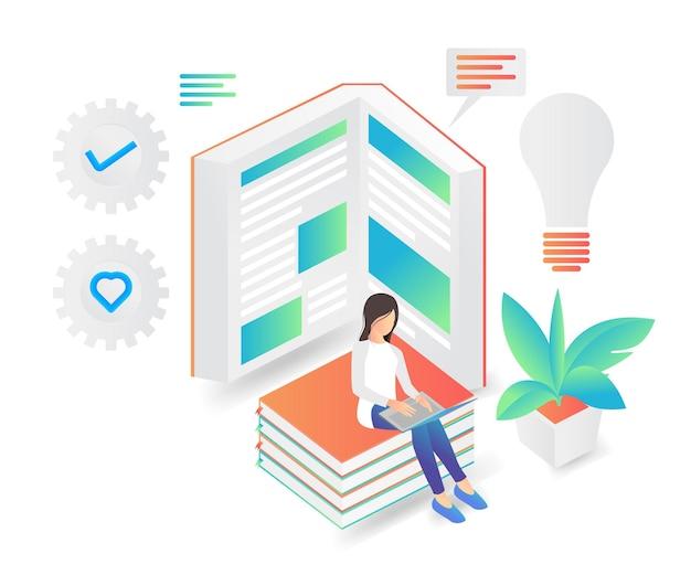 Illustrazione in stile piatto di una donna seduta su una pila di libri che legge libri in cerca di idee lì