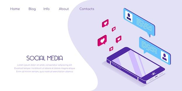 Smartphone con pagina di destinazione in stile piatto in vista isometrica con icone di social media