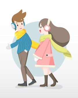 L'uomo e la donna di stile piano in abbigliamento invernale si divertono a parlare tra loro illustrazione