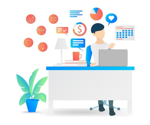 L'illustrazione moderna di vettore di stile piano circa il manager controlla il lavoro dei suoi dipendenti