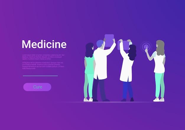 Illustrazione vettoriale di squadra di medicina professionale in stile piatto medici sanitari persone