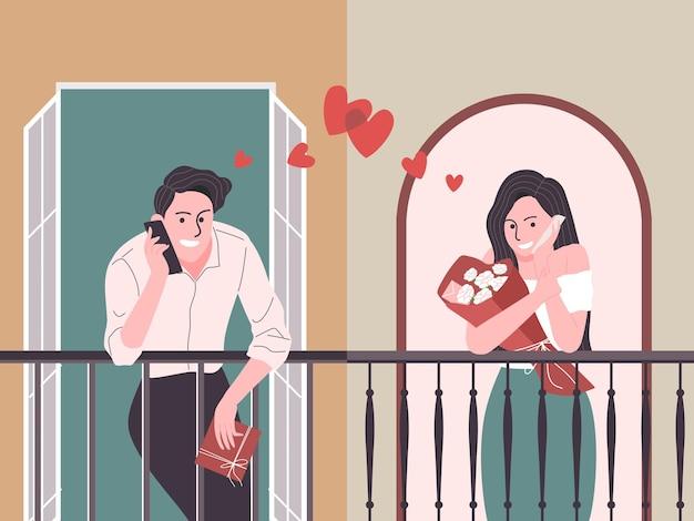 Coppie romantiche del fumetto di stile piano che parlano sul telefono in san valentino. rapporto distanziatore.