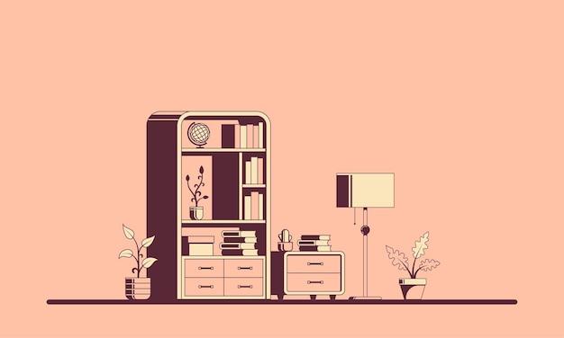 Interiore della stanza stile piatto con libreria.
