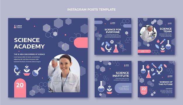 Post di instagram di scienza in stile piatto