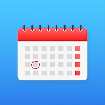Calendario semplice di stile piano illustrazione di vettore di festa fondo di vettore