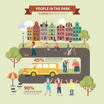 Persone tematiche di stile piano nel concetto di infographics del parco