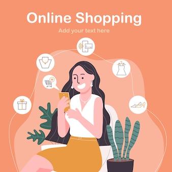 Illustrazione piana di vettore di stile della donna felice del personaggio dei cartoni animati che compera online sullo smartphone.