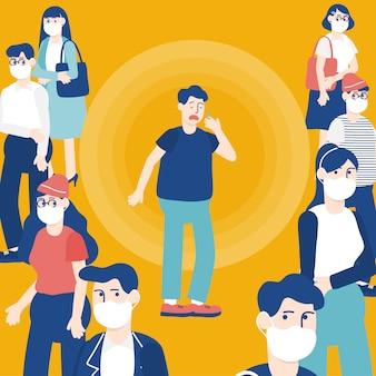 Illustrazione vettoriale di stile piano di uomo personaggio dei cartoni animati che starnutisce o tosse nella folla.