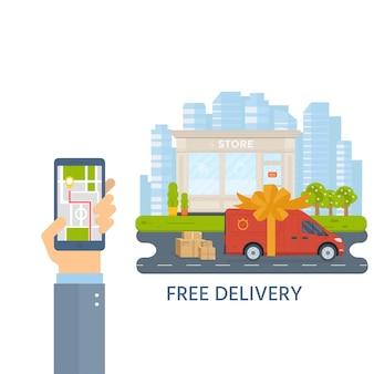 Stile piano illustrazione vettoriale concetto di servizio di consegna gratuita. camion con contenitore, negozio, negozio di spedizione con sfondo sity. design concettuale piatto vettoriale.