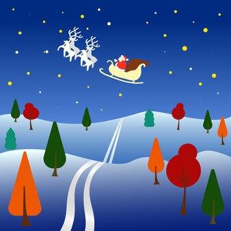Notte di paesaggio della foresta di inverno di stile piano in cielo che vola santa sul fumetto di inverno vuoto della carta della renna