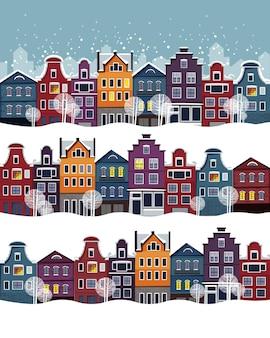 Strade invernali in stile piatto con case carine con neve che cade