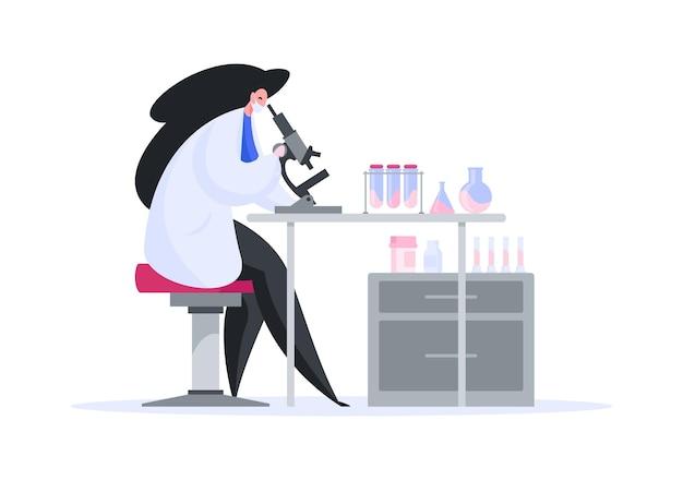 Stile piano di donna in camice da laboratorio che lavora da solo nel laboratorio di ricerca