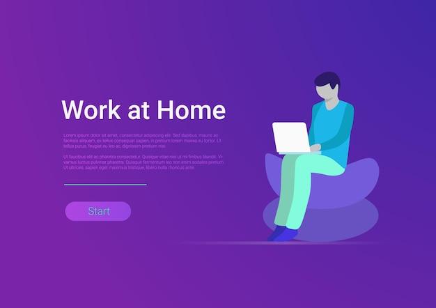 Modello di banner vettoriale per lavoro a casa in stile piatto uomo libero professionista che lavora computer portatile pc