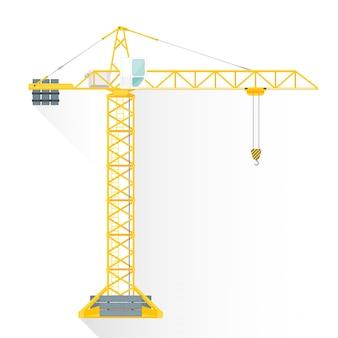 Icona della gru edificio stile piano torre gialla Vettore Premium