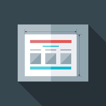 Sito web di prototipazione piatto stilizzato. oggetto stilizzato piatto con ombra lunga