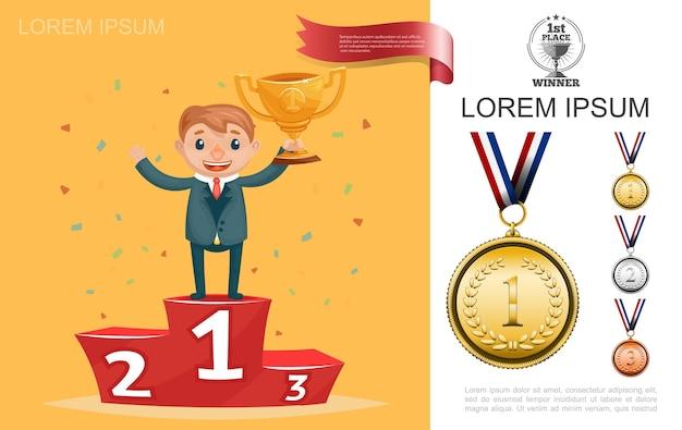 Successo e risultato piatto con uomo d'affari in piedi al primo posto sul podio e illustrazione della tazza della holding