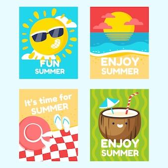 Collezione di carte estive piatte